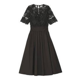 LADYオーバーレースギャザードレス(ブラック)
