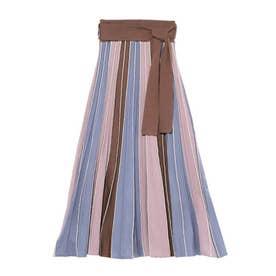 パネルカラーニットスカート(ブルー)
