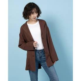 リネンブレンドシャツジャケット (BRN)
