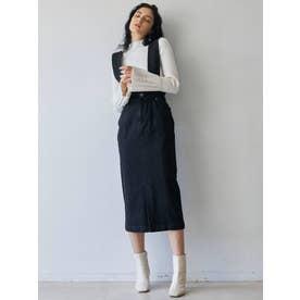ハイウエストデニムジャンパースカート(ブラック)