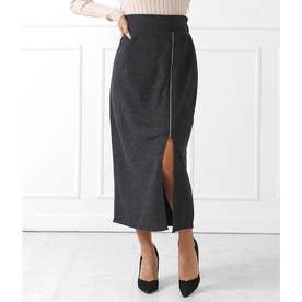 サイドジップスリットツイードタイトスカート(ブラック)