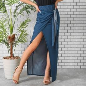 デニムライクラップスカート(ブルー)