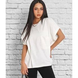 ロールアップスリーブポケット付ビッグTシャツ(ホワイト)