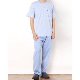 シングルジャカードロゴヘンリーパジャマ (ブルー)
