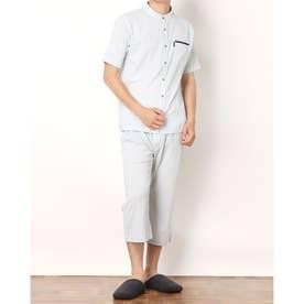 ストレッチサッカー半袖7分パンツ衿なしパジャマ (ブルー)