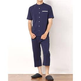 ストレッチサッカー半袖7分パンツ衿なしパジャマ (ネイビー)