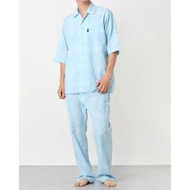 ボイルチェック6分袖パジャマ (ブルー)