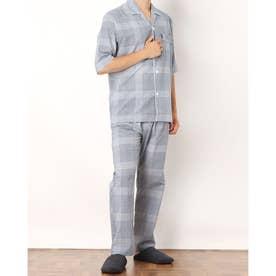 ボイルチェック6分袖パジャマ (ネイビー)