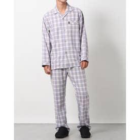 綿毛布ネルチェックパジャマ (ブルー)