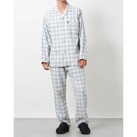 綿毛布ネルチェックパジャマ (グリーン)