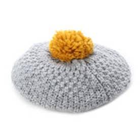 鹿ノ子編ミベレー帽 (グレー)