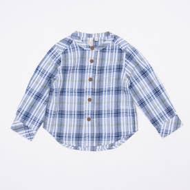 マドラスチェックスタンドカラーシャツ (Blue)