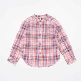 マドラスチェックスタンドカラーシャツ (Red)
