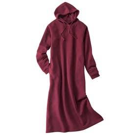 綿混の裏起毛フード付ロングワンピース (エンジ)