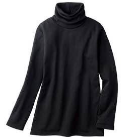 綿混の裏起毛タートルネック (ブラック)
