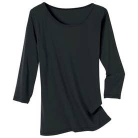 綿100%着回し最適7分袖 (ブラック)