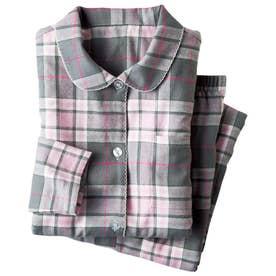 綿100%のやさしさ満点チェックパジャマ (ピンクケイ)【返品不可商品】