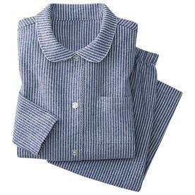 綿100%のやさしさ満点チェックパジャマ (ネイビーストライプ)【返品不可商品】