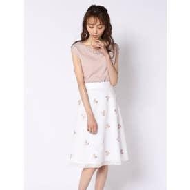 シアーストライプ刺繍スカート (アイボリー)