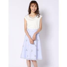 シアーストライプ刺繍スカート (パウダーブルー)