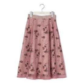 レース刺繍ミディスカート (ピンクベージュ)