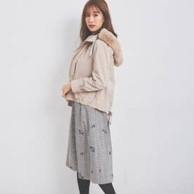 グレンチェック刺繍スカート (クロ)