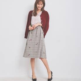 グレンチェック刺繍スカート (チョコレートブラウン)