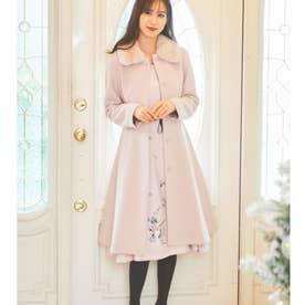 ファー衿ベルテッドコート(Pink) (グレイッシュピンク)