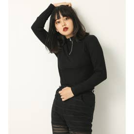 NECK ZIP RIB TOPS BLK