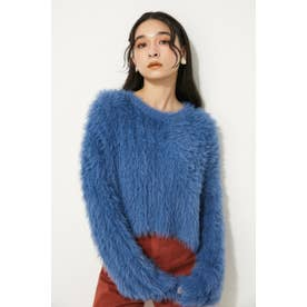 SHAGGY CROPPED RIB KNIT BLU