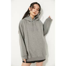 DOUBLE LINE OVER HOODIE GRY