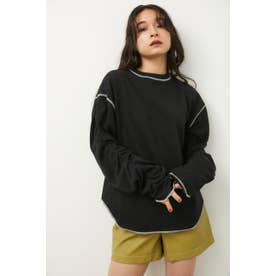 SLEEVE GATHER TOPS BLK