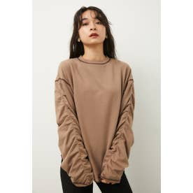 SLEEVE GATHER TOPS BRN