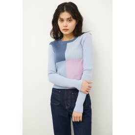COLOR BLOCK KNIT BLU
