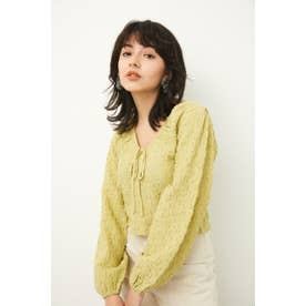 PUFF SLEEVE GATHER TOPS L/GRN1