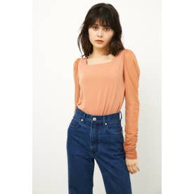 SQUARE NECK SHEER SLEEVE TOPS ORG