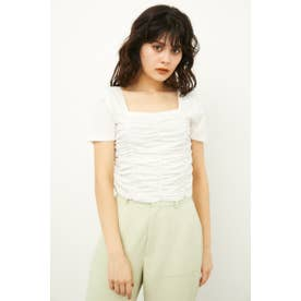 SHIRRING CROPPED TOPS WHT