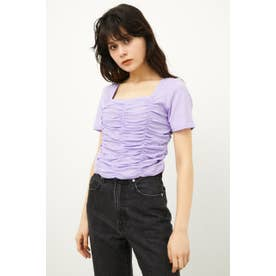 SHIRRING CROPPED TOPS L/PUR1