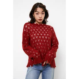 HOLE LG KNIT TOPS RED