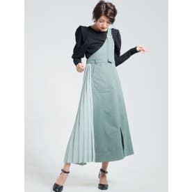プリーツ切替ワンショルジャンバースカート (グリーン)