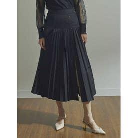 プリーツサイドボタンスカート (ブラック)