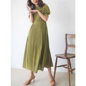 アシメプリーツドレス(オケージョン) (黄緑)