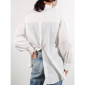 バックオープンラウンドスリーブシャツ (オフホワイト)
