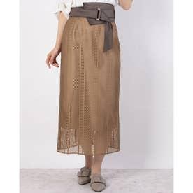 ベルトセットチンツーレースタイトスカート (キャメル)