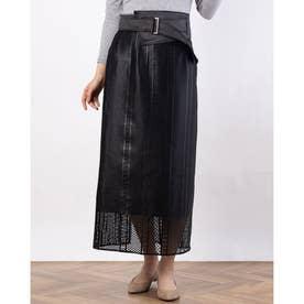 ベルトセットチンツーレースタイトスカート (ブラック)