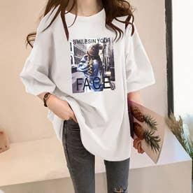 FACEプリントTシャツ (ホワイト)
