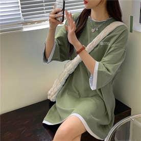 SMILE刺繍レイヤードTシャツ (カーキ)