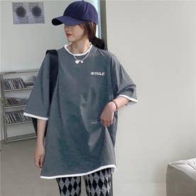 SMILE刺繍レイヤードTシャツ (チャコールグレー)