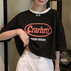 配色ネックロゴプリントショート丈Tシャツ (ブラック)