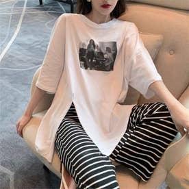 スリットTシャツ&ボーダーパンツセット (ホワイト)